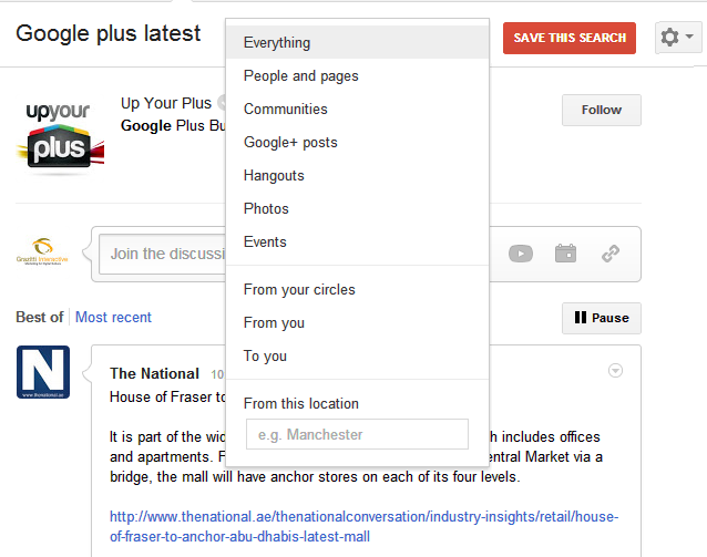 Google+ RealTime Search