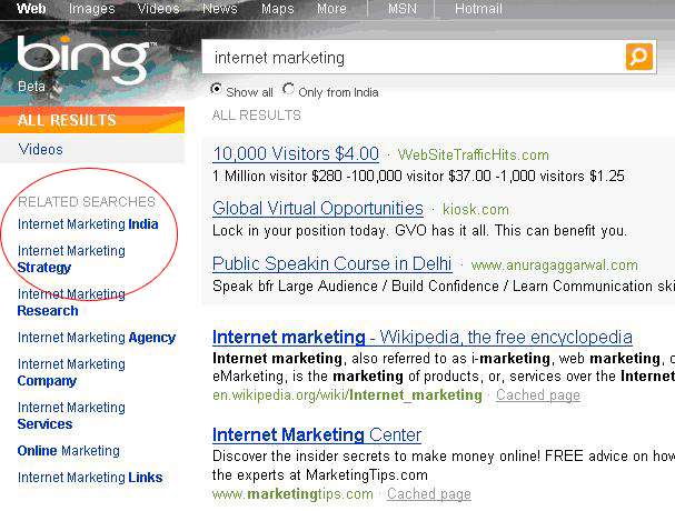 Bing Search is different from Google