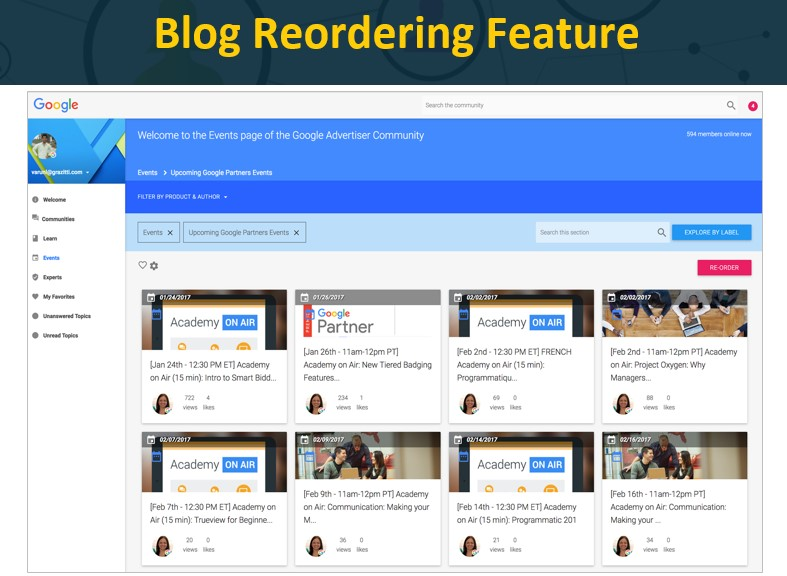 Blog Reordering Feature