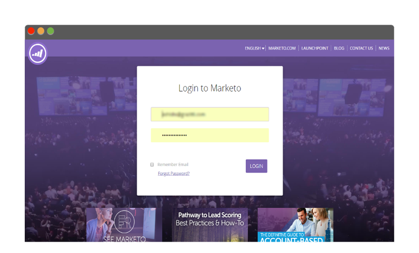 Log in to Marketo account